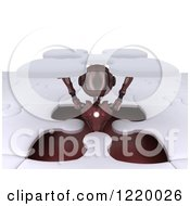 Clipart Of A 3d Red Android Robot Popping Out Of A Jigsaw Puzzle Opening 2 Royalty Free Illustration
