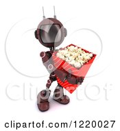 Clipart Of A 3d Red Android Robot With Movie Popcorn Royalty Free Illustration