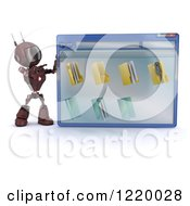 Clipart Of A 3d Red Android Robot Pointing To A Computer File Window Royalty Free Illustration