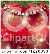 Clipart Of A Happy New Year Party Banner With Fir Branches Over Red Bokeh And Snowflakes Royalty Free Vector Illustration