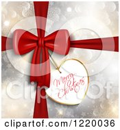 Clipart Of A Heart Shaped Merry Christmas Gift Tag On A Snowflake Bokeh And Star Present Royalty Free Vector Illustration