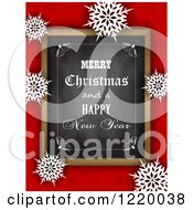 Clipart Of A Merry Christmas And A Happy New Year Greeting Chalk Board Over Red With Snowflakes Royalty Free Vector Illustration by KJ Pargeter