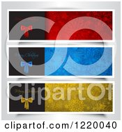 Clipart Of Red Blue And Golden Merry Christmas Website Banners With Snowflakes On Gray Royalty Free Vector Illustration