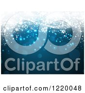 Clipart Of A Blue Christmas Background With Snowflakes Flares And Bright Lights Royalty Free Vector Illustration by KJ Pargeter