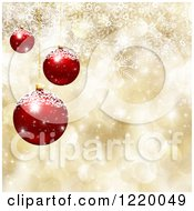 Clipart Of A Golden Bokeh And Snowflake Background With 3d Red Christmas Ornaments Royalty Free Illustration