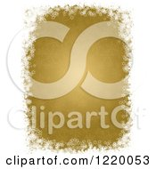 Clipart Of A Gold Christmas Background Bordered In White Snowflakes Royalty Free Illustration