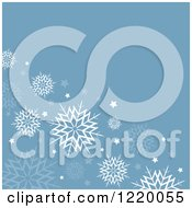 Clipart Of A Retro Blue Background With White Snowflakes And Stars Royalty Free Vector Illustration by KJ Pargeter