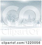 Clipart Of A Foggy Winter Landscape With Trees Royalty Free Vector Illustration