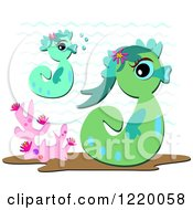 Clipart Of Cute Seahorses And Corals Royalty Free Vector Illustration by bpearth