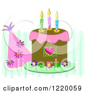 Clipart Of A Party Hat And Birthday Cake With Three Candles Royalty Free Vector Illustration