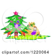 Christmas Tree With A Cupcake Bird And Sack