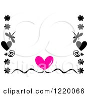 Border Of A Pink Heart With Silhouetted Flowers Swirls And Dragonflies