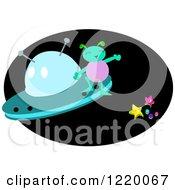 Happy Alien On A Ufo