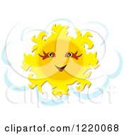 Clipart Of A Happy Sun Over A Cloud Royalty Free Vector Illustration by bpearth