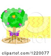 Clipart Of A Butterfly And Floral Tree With Zig Zags Royalty Free Vector Illustration by bpearth