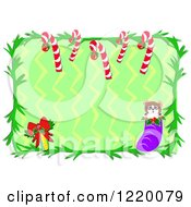 Christmas Border With Candy Candes A Bow And Stocking Over Zig Zags