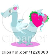 Clipart Of A Blue Dragon With A Snake In A Heart Royalty Free Vector Illustration by bpearth