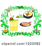 Floral Frame With A Drink And Sushi