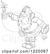 Clipart Of An Outlined Santa Holding Out A Candle Royalty Free Vector Illustration