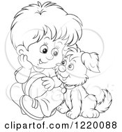 Clipart Of An Outlined Boy And Puppy Playing With A Ball Royalty Free Vector Illustration