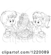 Clipart Of A Boy And Girl With Tea And A Cake Royalty Free Vector Illustration