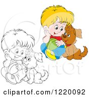 Clipart Of A Colored And Outlined Boy And Puppy Playing With A Ball Royalty Free Vector Illustration