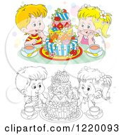 Clipart Of A Colored And Outlined Boy And Girl With Tea And A Colorful Cake Royalty Free Vector Illustration