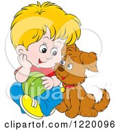 Clipart Of A Blond Boy And Puppy Playing With A Ball Royalty Free Vector Illustration by Alex Bannykh