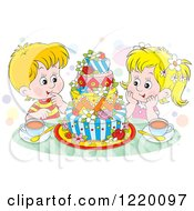 Clipart Of A Twin Boy And Girl With Tea And A Colorful Cake Royalty Free Vector Illustration