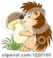 Clipart Of A Cute Hedgehog Carrying A Mushroom Royalty Free Vector Illustration by Alex Bannykh