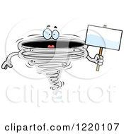Tornado Mascot Holding A Sign