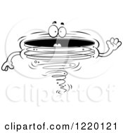 Clipart Of A Black And White Waving Friendly Tornado Mascot Royalty Free Vector Illustration