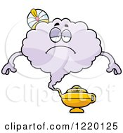 Clipart Of A Depressed Magic Genie Mascot Royalty Free Vector Illustration