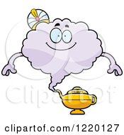 Clipart Of A Happy Magic Genie Mascot Royalty Free Vector Illustration