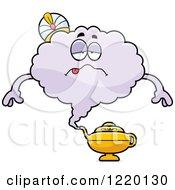 Clipart Of A Sick Magic Genie Mascot Royalty Free Vector Illustration