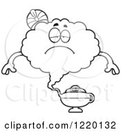 Clipart Of A Black And White Depressed Magic Genie Mascot Royalty Free Vector Illustration