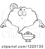 Clipart Of A Black And White Surprised Magic Genie Mascot Royalty Free Vector Illustration