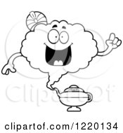 Clipart Of A Black And White Smart Magic Genie Mascot With An Idea Royalty Free Vector Illustration