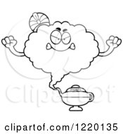 Clipart Of A Black And White Mad Magic Genie Mascot Royalty Free Vector Illustration