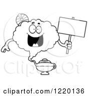 Clipart Of A Black And White Happy Magic Genie Mascot Holding A Sign Royalty Free Vector Illustration