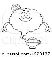 Clipart Of A Black And White Happy Magic Genie Mascot Royalty Free Vector Illustration