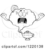 Clipart Of A Black And White Scared Magic Genie Mascot Royalty Free Vector Illustration