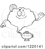 Clipart Of A Black And White Friendly Waving Magic Genie Mascot Royalty Free Vector Illustration by Cory Thoman