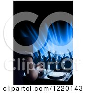 Clipart Of Silhouetted Dancers And A Dj Mixing A Record At A Club Royalty Free Vector Illustration