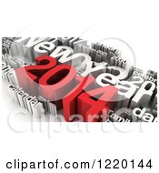 Clipart Of A Red And White 3d New Year 2014 Collage Royalty Free Illustration by MacX