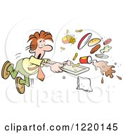 Clipart Of A Businessman Tripping And Spilling His Lunch In A Cafeteria Royalty Free Vector Illustration