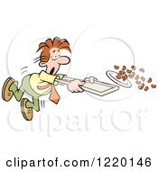 Clipart Of A Businessman Spilling The Beans In A Cafeteria Royalty Free Vector Illustration
