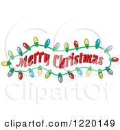 Clipart Of A Merry Christmas Greeting In A Frame Of Lights Royalty Free Vector Illustration by Johnny Sajem
