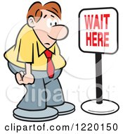 Clipart Of A Defeated Businessman In Front Of A Wait Here Sign Royalty Free Vector Illustration