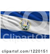 Clipart Of A 3d Waving Flag Of El Salvador With Rippled Fabric Royalty Free Illustration